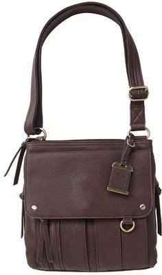 MED CROSSBODY CONCEALED PURSE BRN