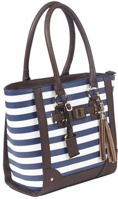 TOTE STYLE PURSE NAVY STRIPE