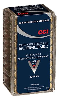 CCI 0074 22LR Subsonic Copper-Plated Segmented HP 40GR 50 Box/100Case