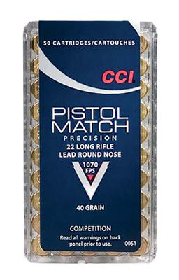 CCI 0051 Select Pistol Match 22 LR Round Nose 40 GR 50Box/100Case