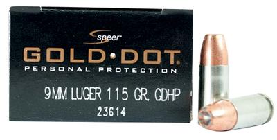 9MM 115GR HP GOLD DOT 20 RDS