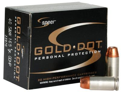 40 S+W 165 GR HP GOLD DOT 20 RD