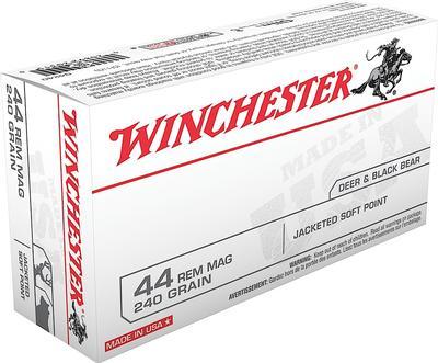 Winchester Ammo Q4240 Best Value 44 Remington Magnum 240 GR Jacketed Soft Point 50 Bx/ 10 Cs