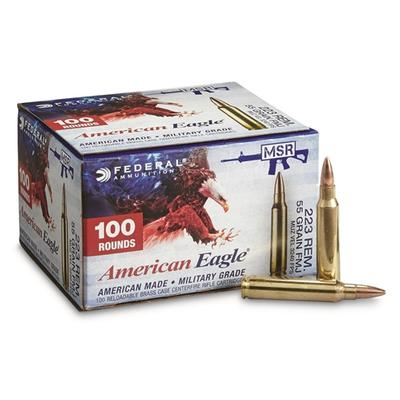 Federal AE223BL American Eagle 223 Remington/5.56 NATO 55 GR Full Metal Jacket Boat Tail 100 Bx/ 5 Cs