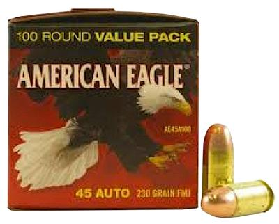 Federal AE45A100 American Eagle 45 Automatic Colt Pistol (ACP) 230 GR Full Metal Jacket 100 Bx/ 5 Cs
