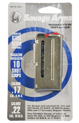 Savage 90019 93 Series 22 Winchester Magnum Rimfire/17 Hornady Magnum 10 rd Stainless Finish