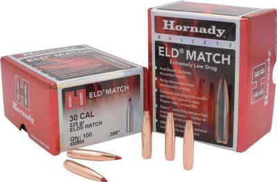 30CAL .308 225GR ELD MATCH BULLETS 100CT