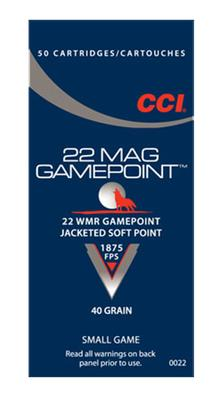 CCI 0022 22Win Mag 40GR Gamepoint Jacketed Soft Point 50Box/40Case