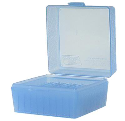 MTM RS10024 R-100 Rifle Ammo Box Small Cal 17/223 100rd Poly Clear Blue