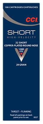 CCI 0027 Short HV 22 Short Copper-Plated Round Nose 29 GR 100Box/50Case