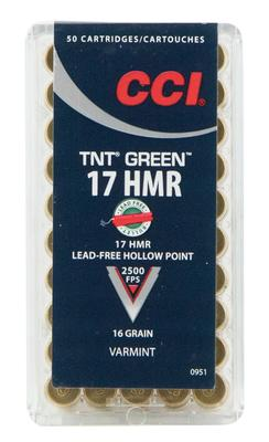 CCI 951 Varmint 17 Hornady Magnum Rimfire (HMR) 16 GR TNT Hollow Point 50 Bx/ 40 Cs
