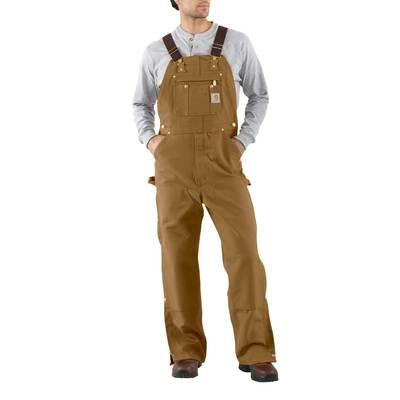 MENS QUILTED LINED SANDSTONE BIB OVERALL