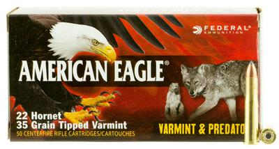 22 HORNET 35GR TIPPED VARMINT AMERICAN EAGLE 50RD