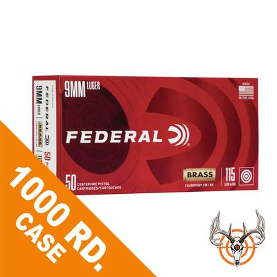 9MM 115GR FMJ RN CHAMPION BRASS 1000RD